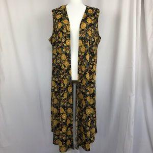 LulaRoe Yellow Floral Vest Duster